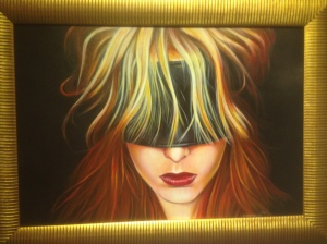 One work of guest artist, Karl Hamilton-Cox, painted directly on leather.