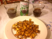 Appetizer-Grass Jelly Drink and seasoned roasted Kabocha seeds