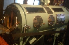 An iron lung used in the 1930's-1950's in the Polio exhibit...