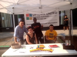 Executive Director Keith McCormick (left) and his welcome crew in support of  Uptown's progress along with Business Partners, The Chamber for Uptown.
