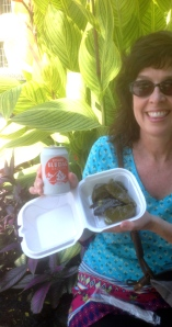 Deeeelishous stuffed grape leaves with rice and herbs with a Turkish cola.