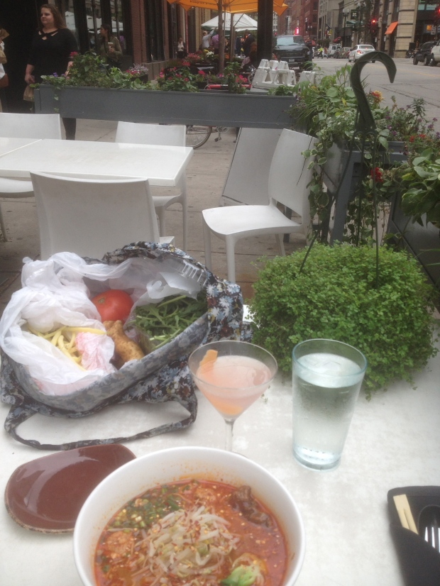 Relishing my farmer market finds, as the rain starts to sprinkle, I have an absolutely scrumptious lunch at the Slurping Turtle,  116 W. Hubbard while Betty awaits a ride.