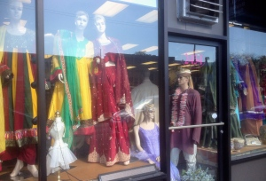 Traditional Indian clothing stores line the streets with already or tailor made designs.
