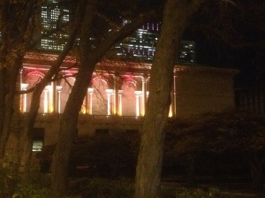 …on a side note, did you know the south end of the Art Institute is beautifully lit like this at night?!