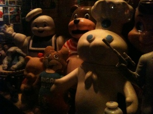 Hanging out with the toy collection at Club Foot, 1824 W Augusta Blvd