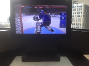 Several interactive simulated experiences where you face off with the pros…I'm the goalie loosing in this image :)