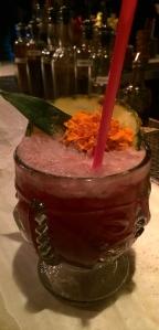 Dr. Funkhouser, Mezcal, Arrack, Jamacian rum, blackberry, pomegranate, lime, pineapple, Falernum, and Absinthe