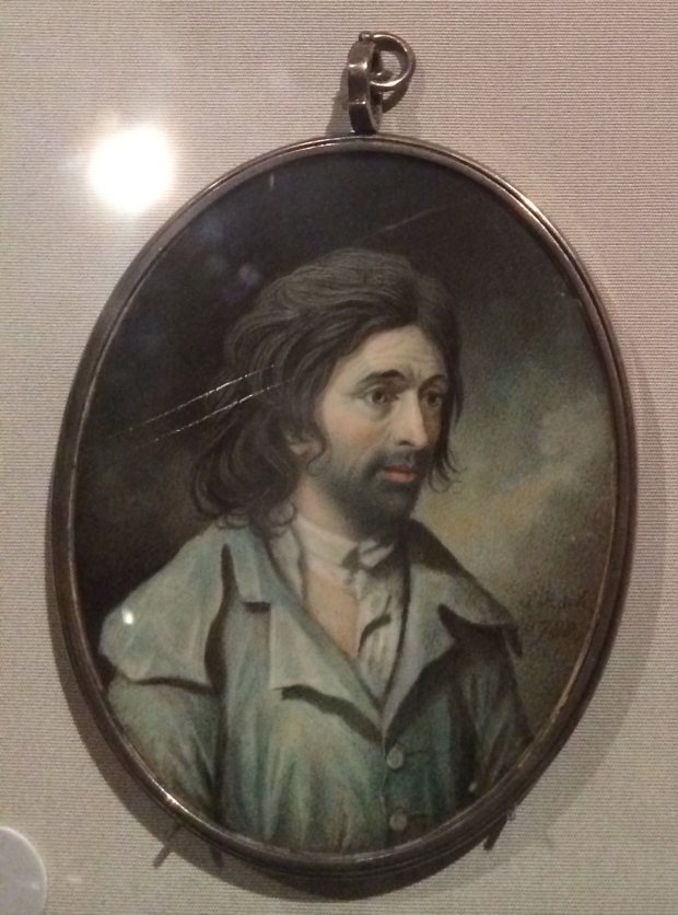 These portrait miniatures hang from links and are no more than 4 inches in width or length.  Sampson Towgood Roch An Artisan watercolor on ivory 1788