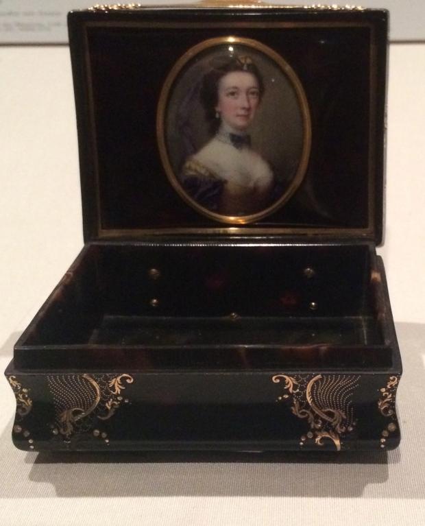 Nathaniel Hone Portrait of a Lady enamel on copper, mounted on a tortoiseshell box 1750