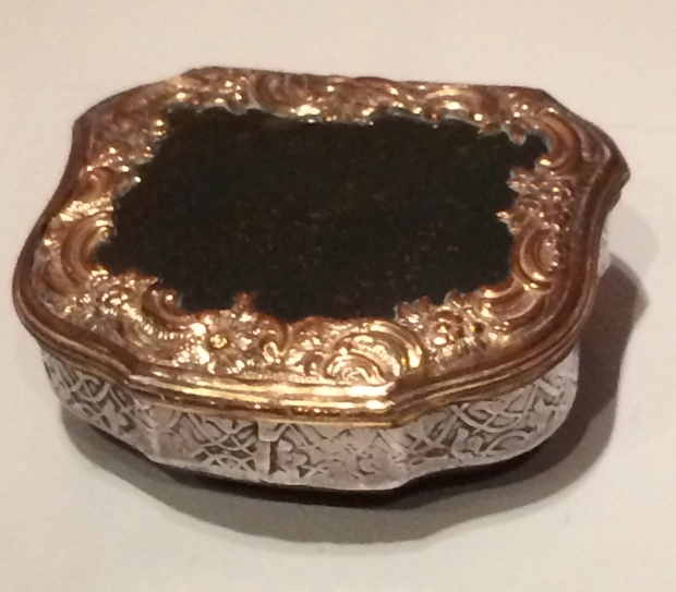 "Snuffbox inscribed ""Richard Brinsley Sheridan"" bloodstone with silver and gilt copper alloy mounts 1775"