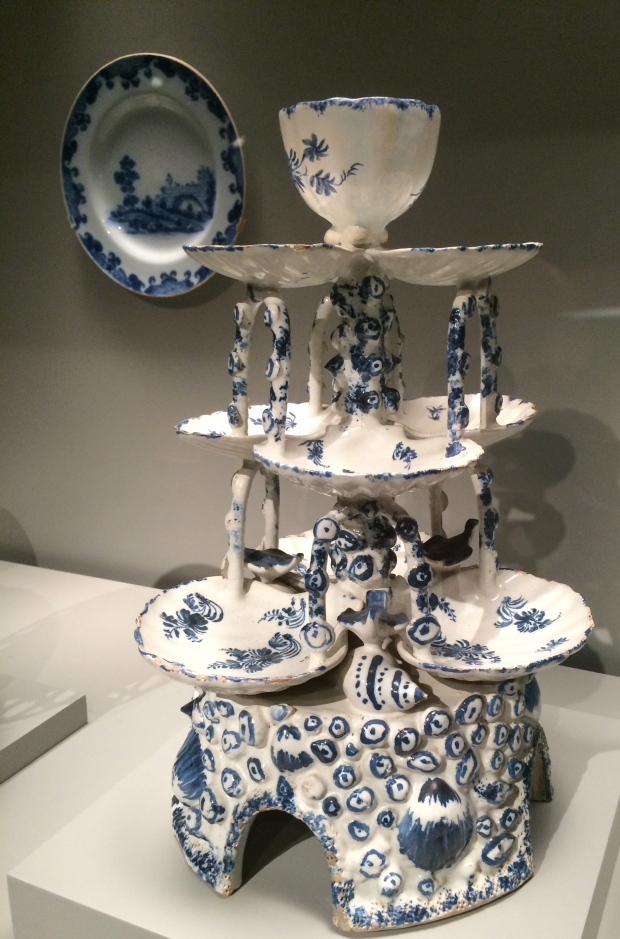 Although not a refined as the Delft, I love this piece! World's End Pottery Epergne/Sweetmeat Dish tin-glazed earthenware 1755/65