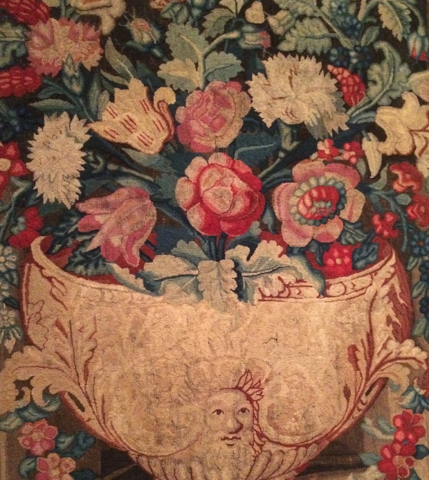 Needlework Panel wool and canvas 1738