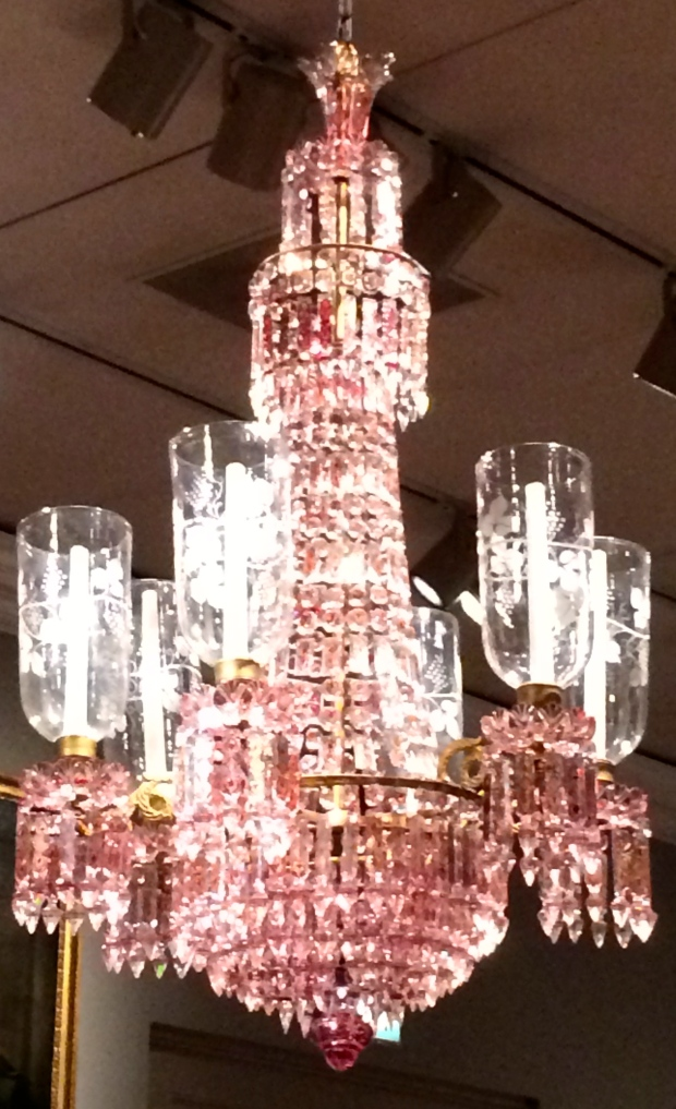 19th century crystal and brass chandelier.