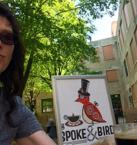 The Spoke & Bird, 205 E 18th street. A quick rest and a tasty beverage in thier cozy courtyard.