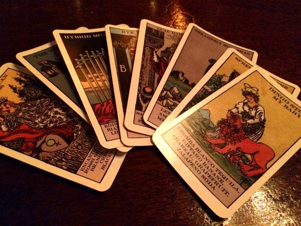 Tarot card drink menus.