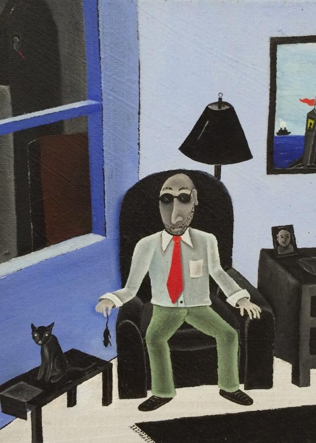 Eric Weinstein Sitting in Shlo's Office oil on canvas