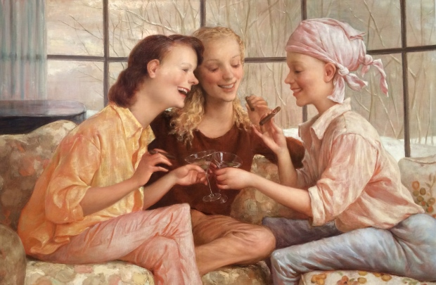 John Currin, Stamford after Brunch, 2000, oil on canvas
