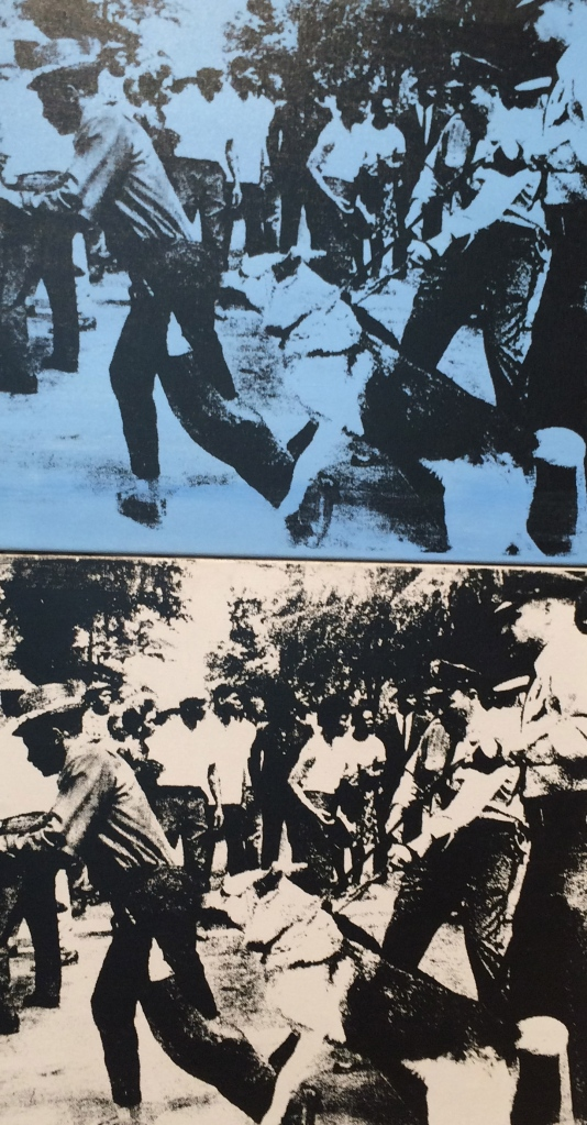 Andy Warhol, Little Race Riot, 1964, acrylic and silkscreen ink on linen; two joined canvases.