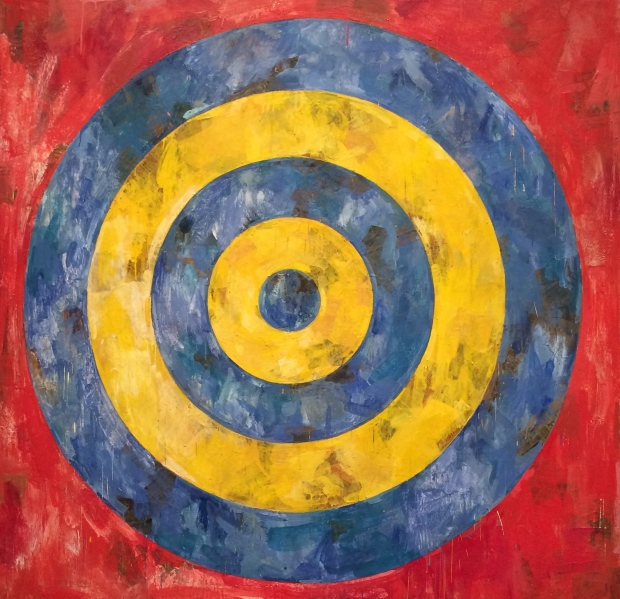 Jasper Johns, Target, 1961, encaustic and newspaper on canvas
