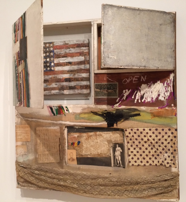 Robert Rauschenberg, Short Circuit (Combine Painting), 1955, oil, fabric, and paper on wood supports; oil on canvas