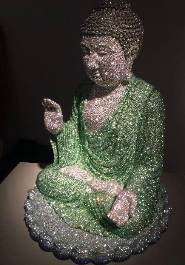 Daniel Jacob, Tranquility Buddha Head, crystals on hard resin