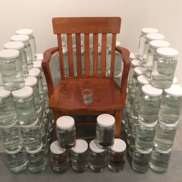 Preservation: Don't Cry Jan Parker 2016 water, jars, father's chair, child's cup