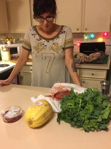 Basket Ingredients-Spaghetti Squash, Rapini, Sun-dried Tomatoes, Cubed Buffalo