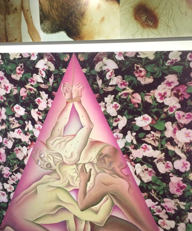 Homosexual Holocaust, Study for Pink Triangle Torture, Judy Chicago, sprayed acrylic, photo-silkscreen, and oil of canvas, 1989